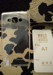 Чехол и защитной стекла на Samsung A7