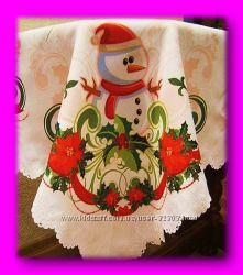Новогодняя скатерть снеговик и зелень 120 на 150см