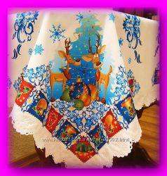 Новогодняя скатерть с оленями, красивый зимний узор