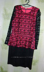 Платье, гипюр, р. 50 - 52 3ХL For Woman, Триода, баска