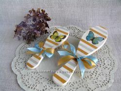 Набор расчесок, массажная щетка деревянная подарок для мамы и дочки Бабочки