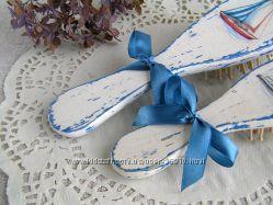 Набор расчесок, массажная щетка деревянная подарок для мамы и дочки Морячка