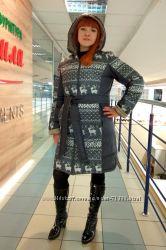Куртка зимняя для беременных 2в1 Марго олени двухсторонняя