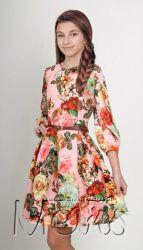 Нарядное платье с шифоновым рукавом.