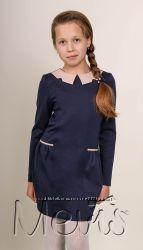 Трикотажное платье, воротник - экокожа