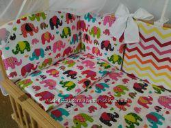 Детское постельное белье в кроватку с бортиками подушечками - Сладкий сон