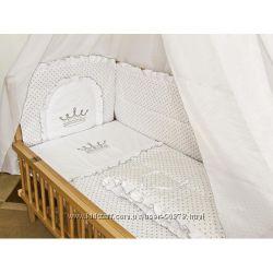 Постельное белье в кроватку Вышивка Штурвал, Мишка, Корона, Карета