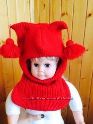 Зимние шапки- шлемы для девочки 2-4 лет