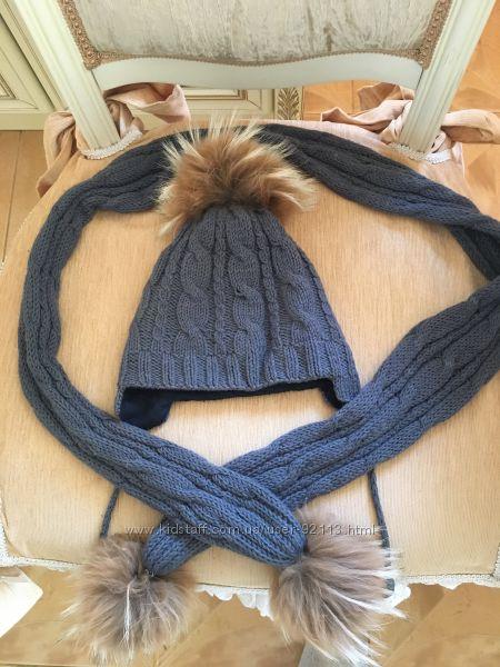 Набор шапка и шарф с пампоном Панама мама
