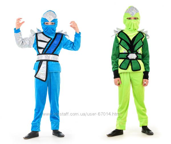 Костюм зелений нінзя, нинзя, синій нінзяго, Нинзяго, на 110-130 - Позняки