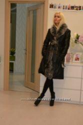 Теплое натуральное кожаное пальто с натуральным мехом