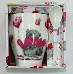 Набор Мишка Тедди, чашка с камнями и ложкой