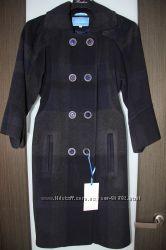 Кашемировое пальто Raslov демисезонное размер 46, темно-синее, рукав 56