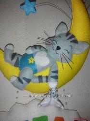 Именное панно Котик на луне