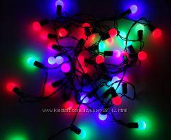 Светодиодная Гирлянда Шарики Новогодняя на Елку 1, 5 см 40 LED Мульти