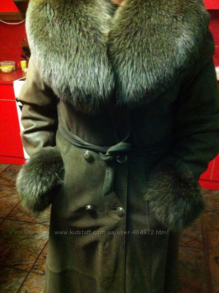 Кожаное пальто с роскошным мехом песца