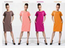 Трикотажное платье туника с карманами размеры от 40 до 56
