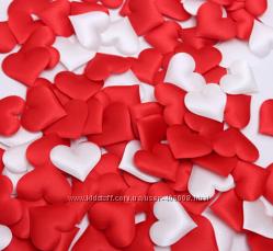 Декор сердечко из ткани 3, 5 см