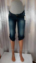 Прекрасные джинсовые капри для будущих мам со стречем р. 44 наш