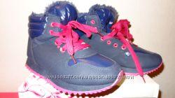 Новые Зимние Ботинки на теплом меху Синие с розовым рр. 37- 24см Для девочк