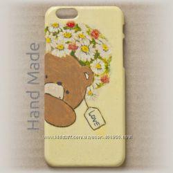Чехол для iPhone 6 и 6s hand made Мишка с цветами