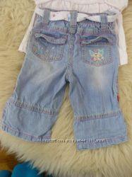 фирмен. летн. джинсы-капри для принцессы 3-6 мес.