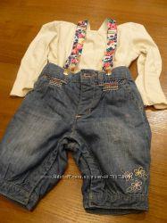 много джинс. брюки шорты кофты для принцессы р. 74-92