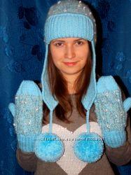 Вязаная зимняя шапка ушаночка нежного цвета. Очень тёплая