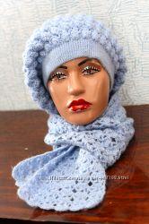 Берет с шарфиком, ручная работа. Осень-весна 53, 54, 55, 56 размера