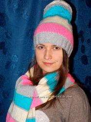 Красивые и разных цветов наборы шапочка шарфик-разные модельки