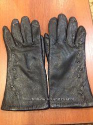 Кожаные перчатки на флисе 6р