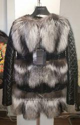 Очень стильная кожаная курточка с мехом чернобурки PHILIPP PLEIN