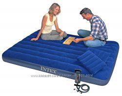 Матрац надувной Intex 152х203см, 2 подушки, насос