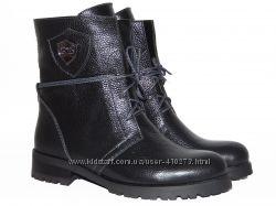 Демисезонные кожаные ботинки, черного цвета