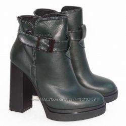 Демисезонные кожаные ботинки, темно - зеленого цвета, распродажа
