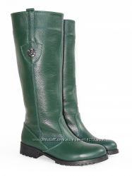 Зимние кожаные сапоги, зеленого цвета