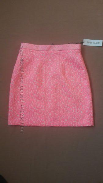 Яркая неоново-розовая юбочка для хрупкой девушки River Island оригинал