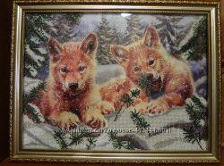 Картина, вышитая бисером Волчата. Первый снег