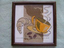 Картина крестом Чашка кофе и круассан