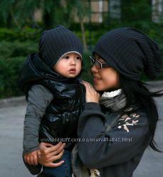 Демисезонные  шапки для мамы и малыша.
