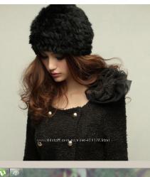 Мода 2014 Меховая вязаная шапка. натуральный кролик