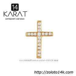 Золотой крестик с бриллиантами 0, 24 карат. Новый Код 16200