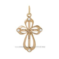 Золотой крестик с бриллиантами 0, 08 карат. Новый Код 16818