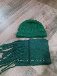 Теплый вязанный набор шапка шарф