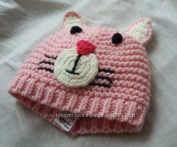 Няшная розовая шапочка с ушками котик F&F на 3-8 мес. Котошапка на флисе.