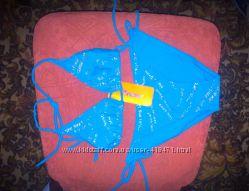 Купальник ярко - голубой с серебряными надписями р. 42 - 44 наш Новый