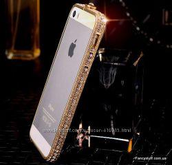 Металлический бампер с камнями Swarovski для Apple