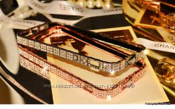 Металлический бампер с камнями Swarovski BVLGARI для Apple 5s