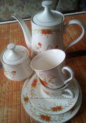 Чайно-кофейный китайский фарфоровый сервиз, 6 персон, 21 предмет