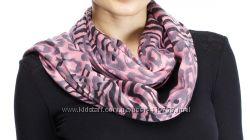 Натуральный шарф Vivien Blum розово-серый в анимал. принт с бахромой